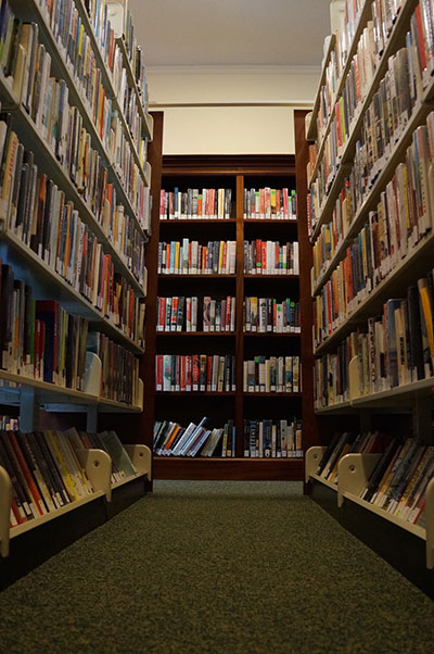 Books on shelves at the Witherle Memorial Library